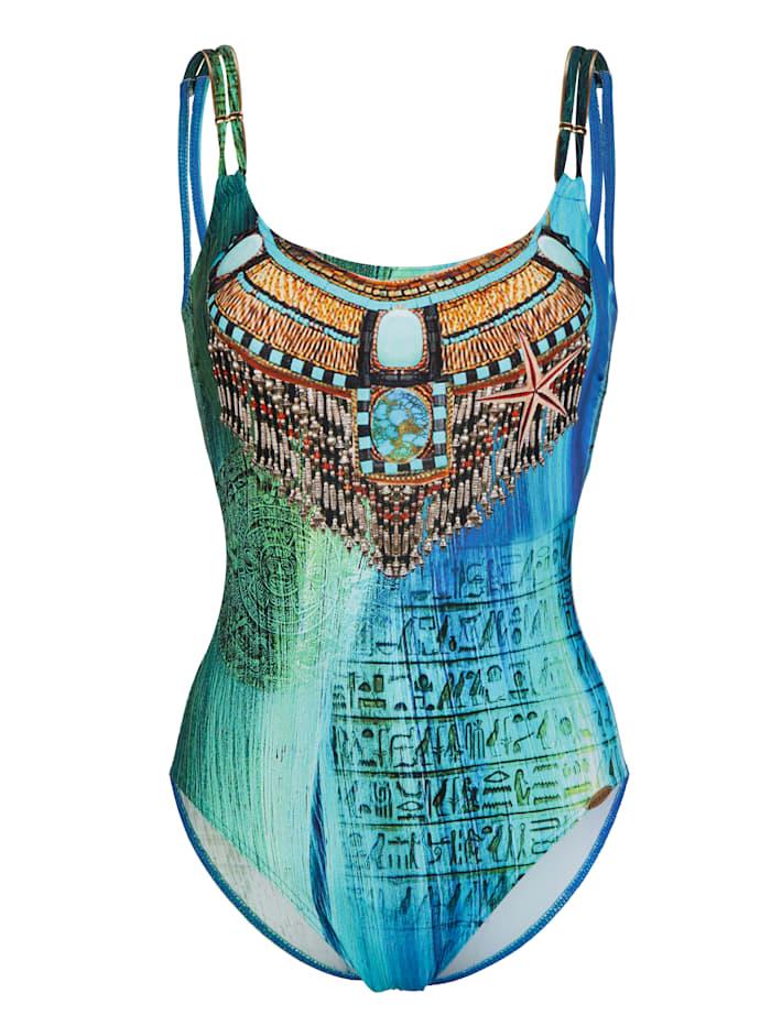 Sunflair Badeanzug mit antikem Druck, Blau