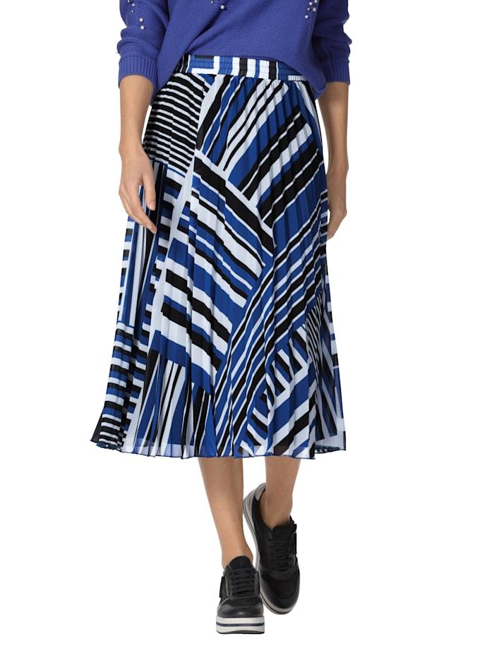 AMY VERMONT Jupe plissée à imprimé graphique, Bleu roi/Noir
