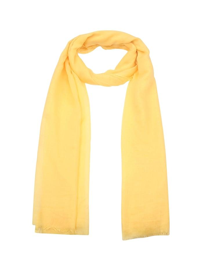 Leslii Schal im einfarbigen Design mit Fransen, gelb