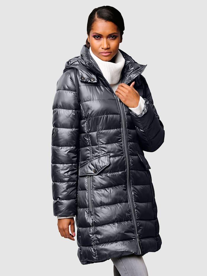 Alba Moda Prošívaný kabát v hodnotném vypracování, Antracitová