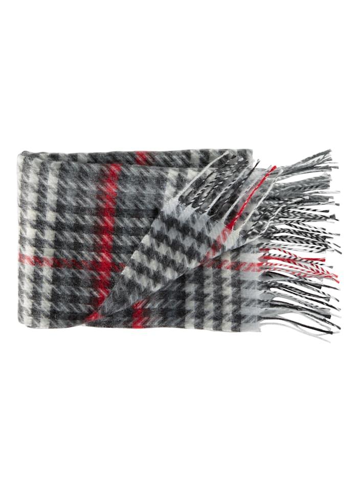 BABISTA Sjaal met wol, zwart/wit/rood