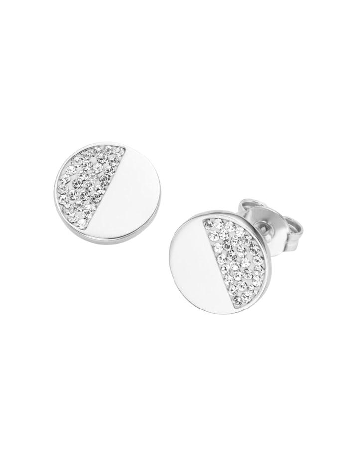 Smart Jewel Ohrstecker rund, mit Swarovski Steinen, Silber 925, Weiss
