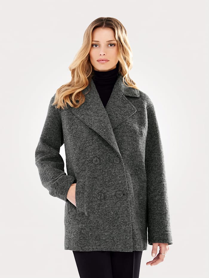 Artigiano Coat made from boiled wool, Anthracite