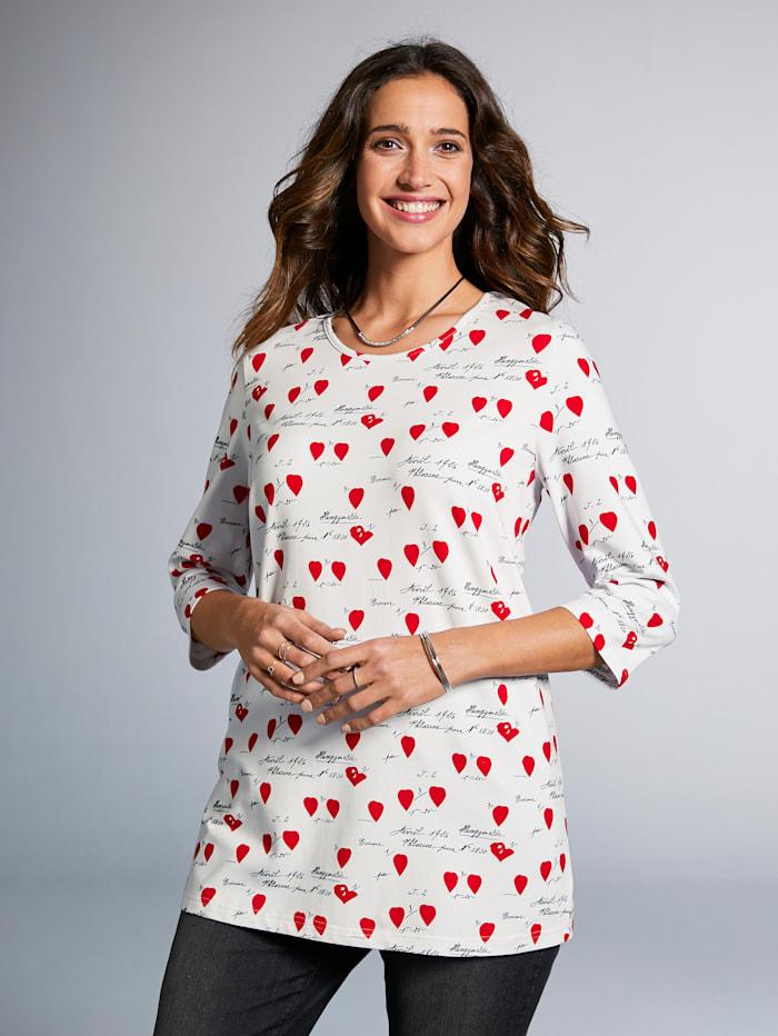 MIAMODA Shirt mit Herz-und Schriftmotiv bedruckt, Weiß/Rot/Schwarz