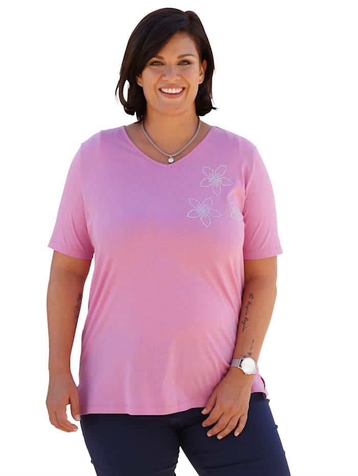 m. collection Shirt mit Blümchen aus Strasssteinen, Pink
