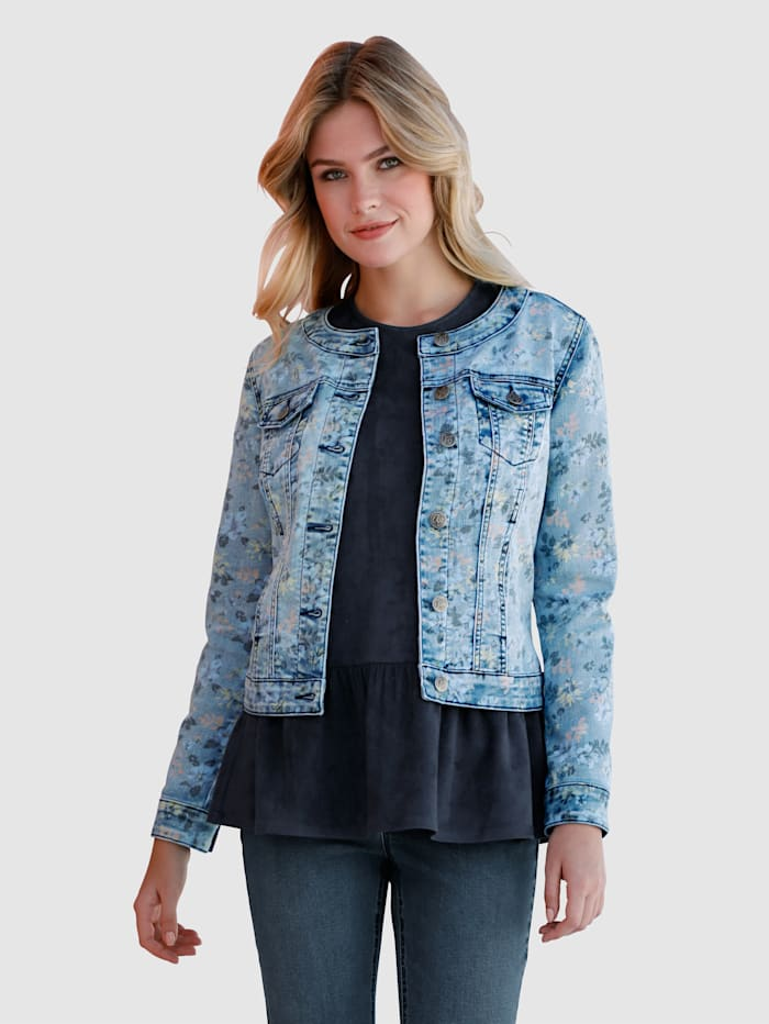 AMY VERMONT Jeansjacke im allover Druck, Blue bleached