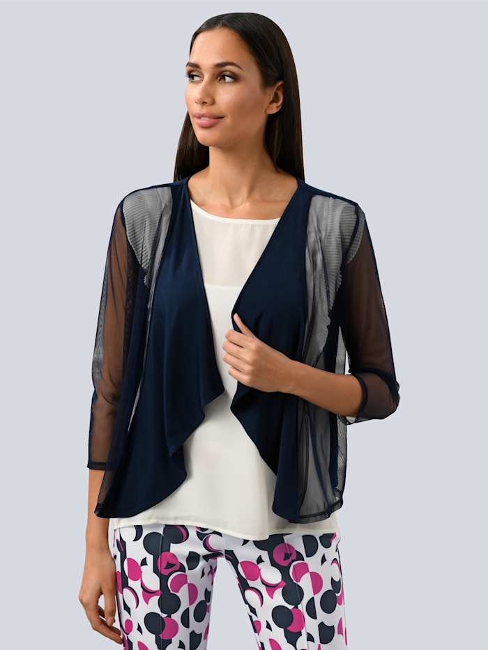 Alba Moda Shirtjacke mit soften Mesheinsätzen, Marineblau