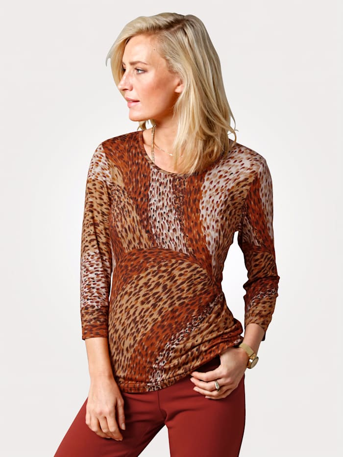 MONA Shirt mit Animal-Print, Terracotta