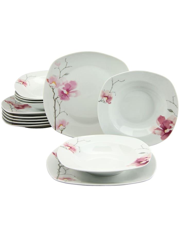 """Creatable Service de table 12 p. """"Aiko"""", blanc/rose"""