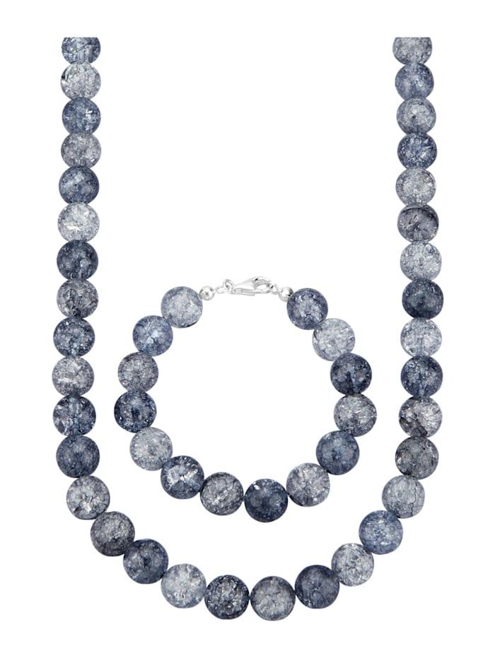 Amara Farbstein 2tlg. Schmuck-Set aus Bergkristall, Grau