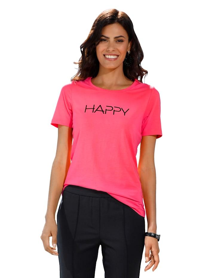 AMY VERMONT Shirt mit Schriftzug, Pink/Schwarz