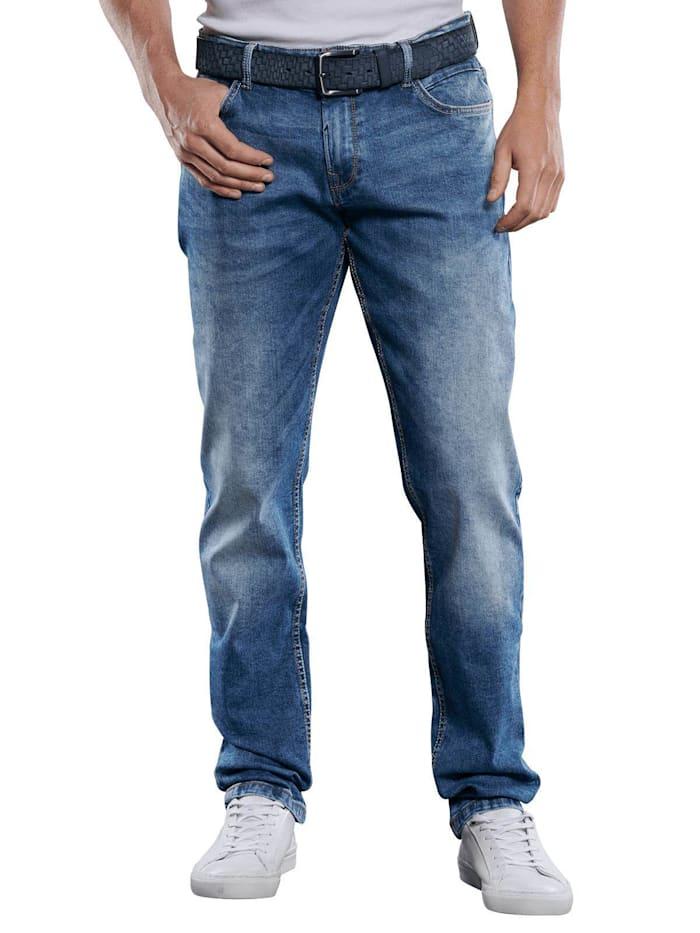 Engbers Helle High Stretch Jeans mit Waschungen, Taubenblau