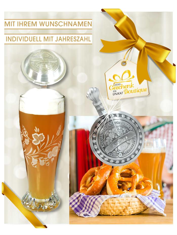 Bierseidel mit graviertem Zinndeckel