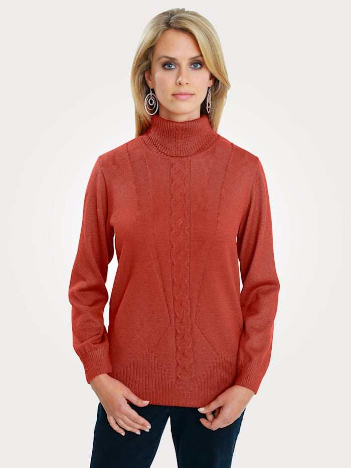 MONA Pullover mit Zopfmuster, Rost