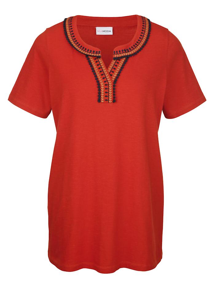 MIAMODA Shirt mit dekorativem Ausschnitt, Orange