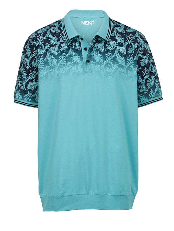 Men Plus Poloshirt Spezialschnitt, Türkis/Marineblau