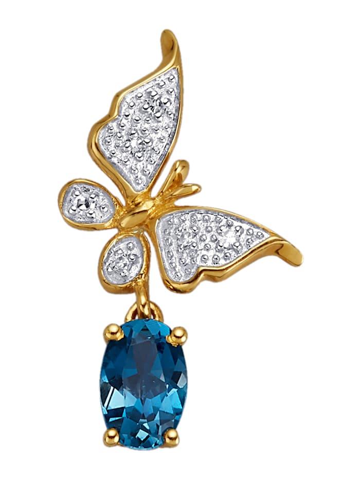 Amara Highlights Anhänger mit London Blautopas und Diamanten, Blau