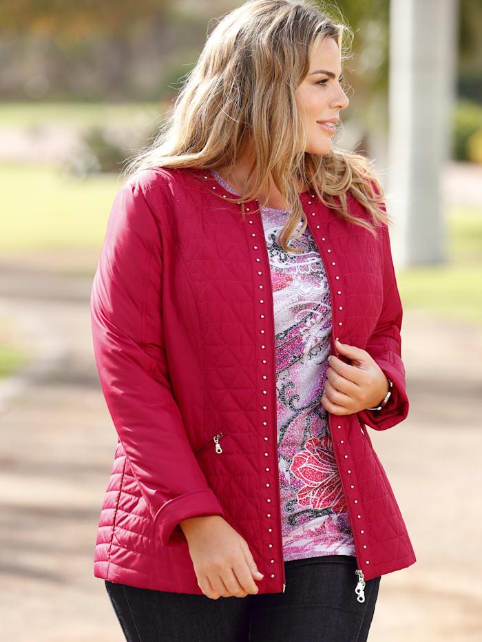 m. collection Gewatteerde jas met klinknageltjesdecoratie, Fuchsia