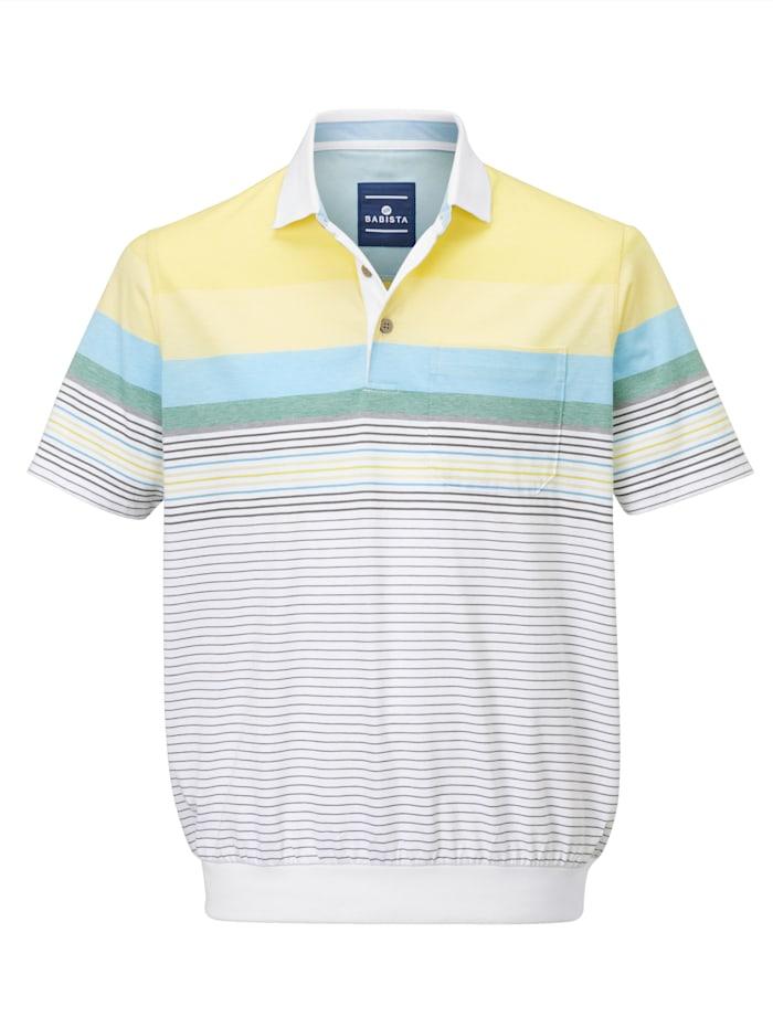 BABISTA Poloshirt met ingebreide strepen, Wit/Geel