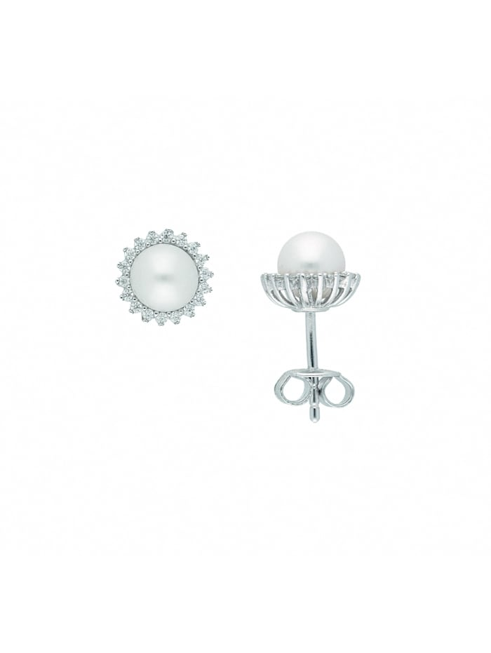 1001 Diamonds Damen Silberschmuck 925 Silber Ohrringe / Ohrstecker mit Zirkonia Ø 8,7 mm, natur