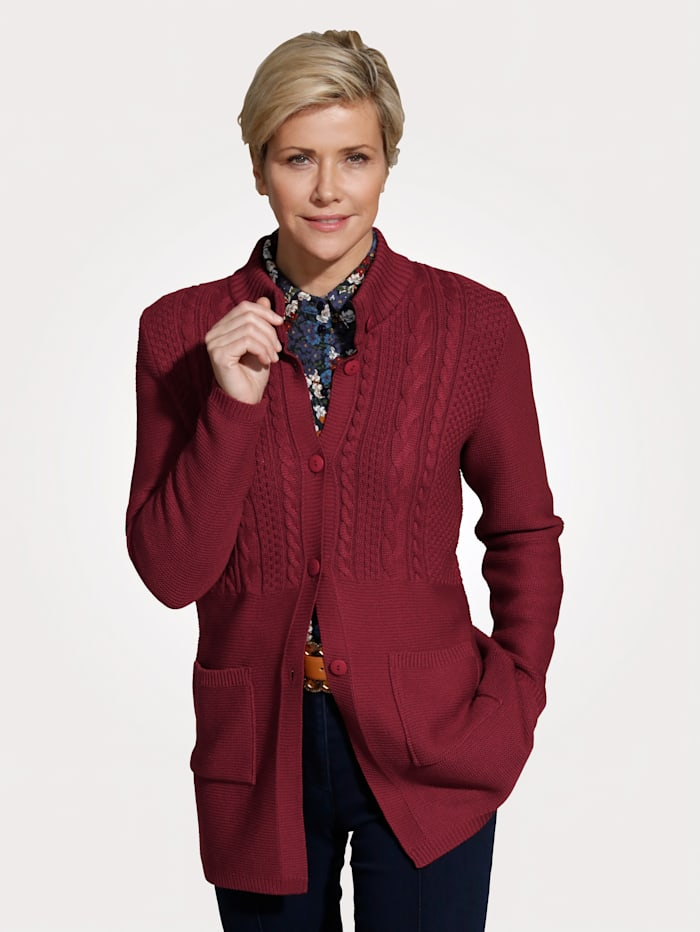 MONA Cardigan with cable knit detailing, Burnt Orange