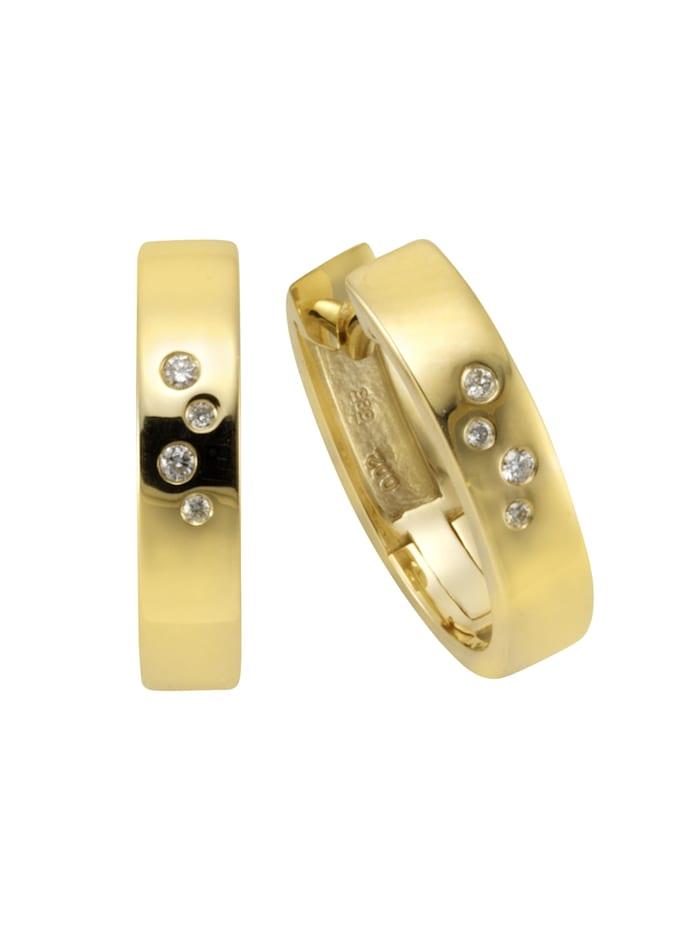Orolino Creolen 585/- Gold Brillant weiß Brillant 1,4cm Glänzend 0.04 Karat 585/- Gold, gelb