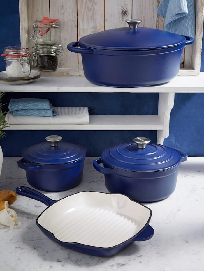 GSW Gusseisen-Kochtopf 'Blue Magic', Ø 20 cm, Fassungsvermögen 2,2 Liter, Blau/Creme-Weiß