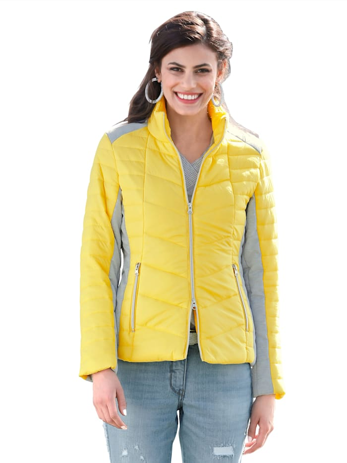 AMY VERMONT Gewatteerde jas met contrastkleurige inzetten, Geel/Grijs