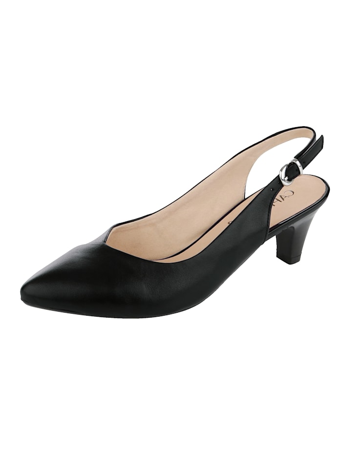 Caprice Slingback shoes with elegant pointy toe, Black