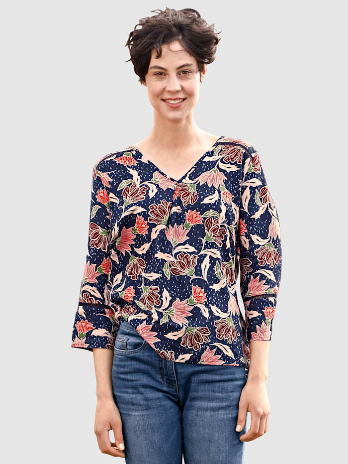 Dress In Bluse mit floralem Muster, Marineblau