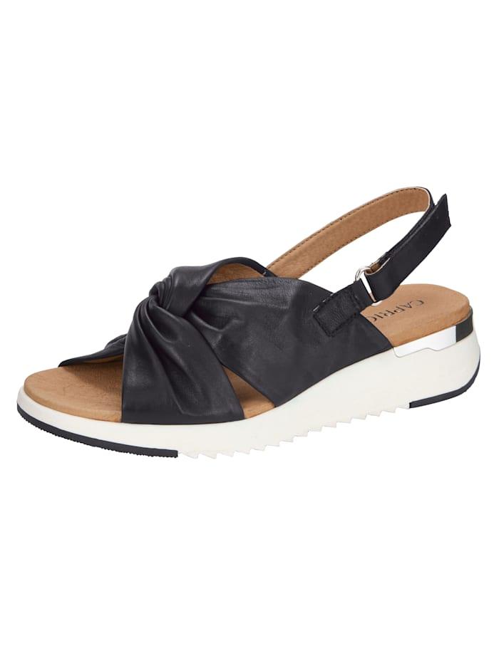Caprice Sandaaltje in moderne geknoopte look, Zwart