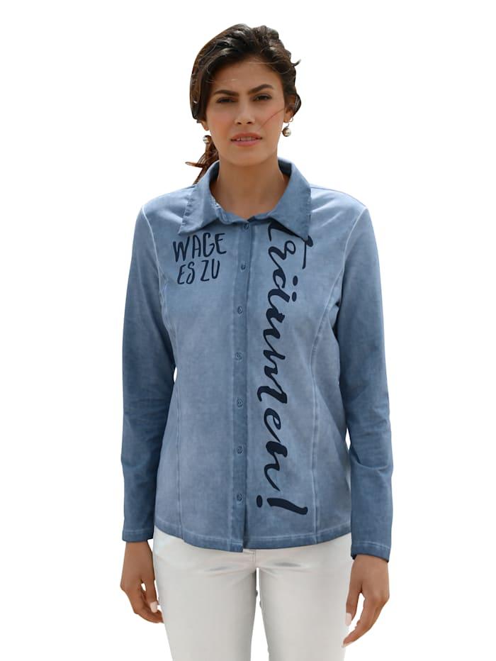 AMY VERMONT Blouse met opschrift voor, Jeansblauw