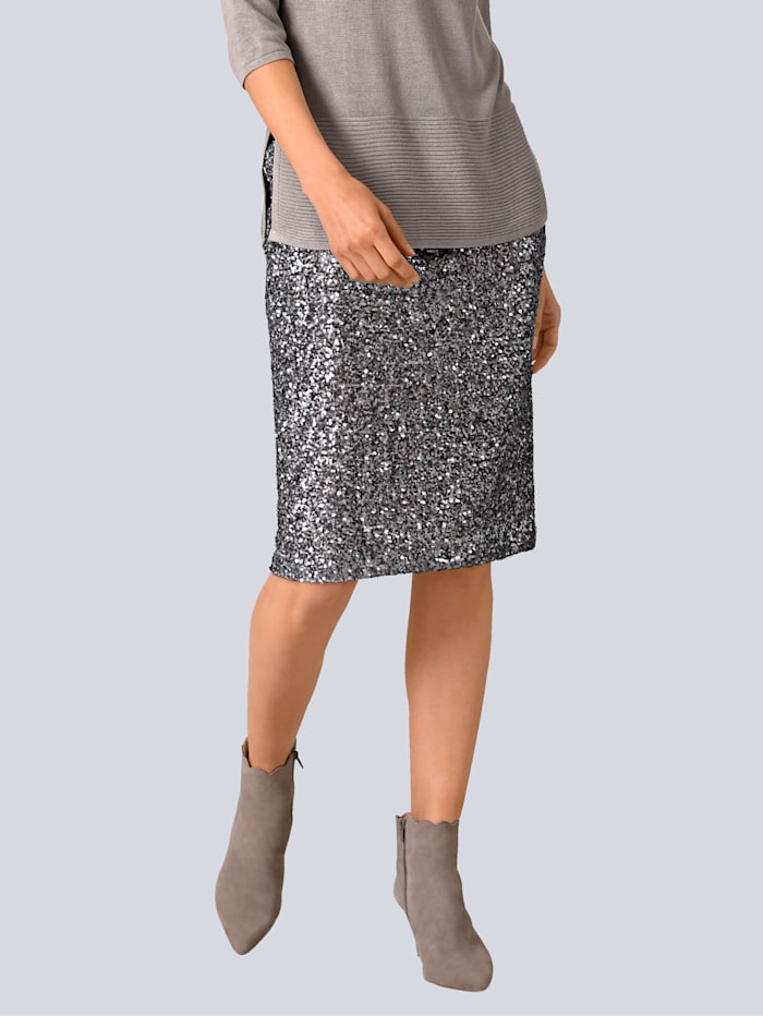 Alba Moda Rock mit Pailletten, Grau