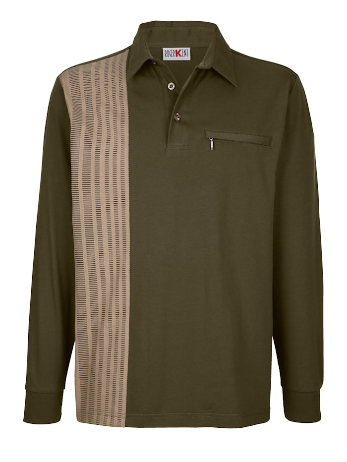 Roger Kent Poloshirt mit bedrucktem Einsatz, Oliv/Sand