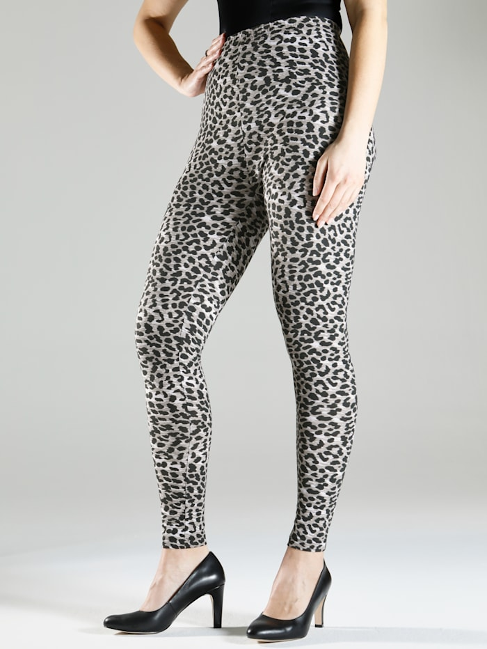 m. collection Leopardikuosiset leggingsit, Musta/Valkoinen/Beige