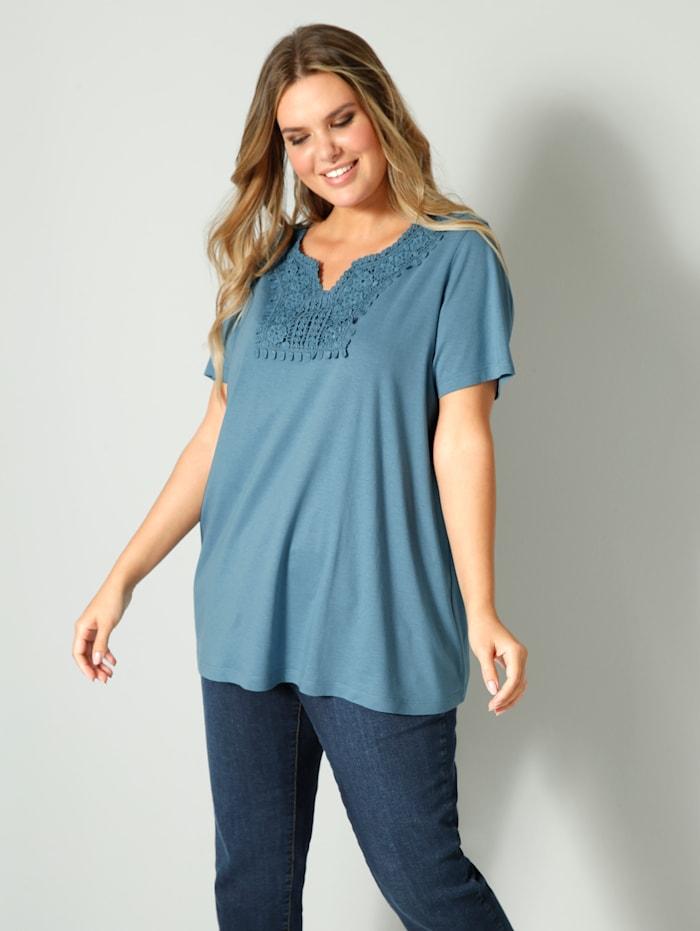 Janet & Joyce Shirt mit Spitze, Jeansblau