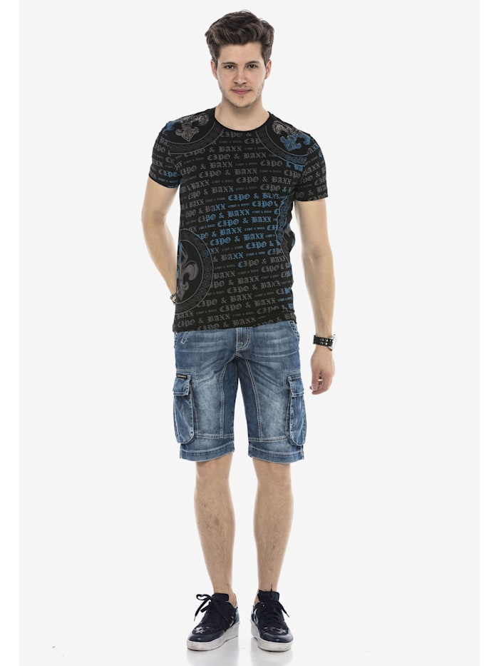 Jeans-Shorts mit Cargotaschen