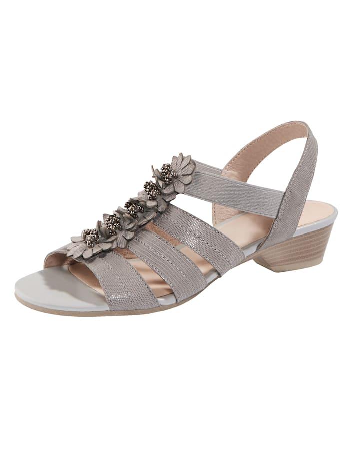 MONA Sandale mit hochwertiger Blütenapplikation, Grau