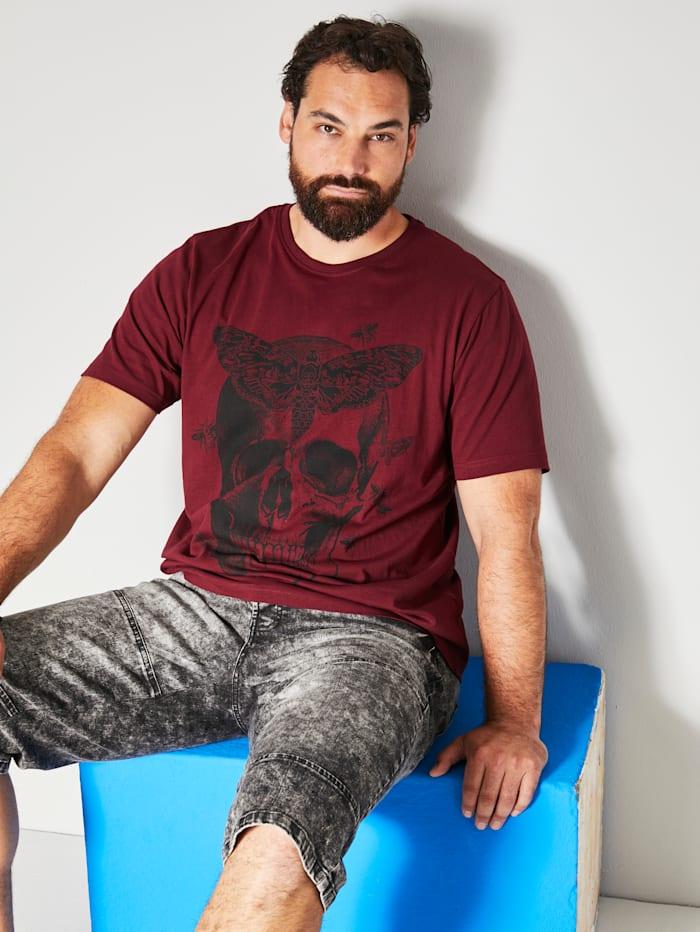Men Plus T-shirt met grote doodshoofdprint, Rood