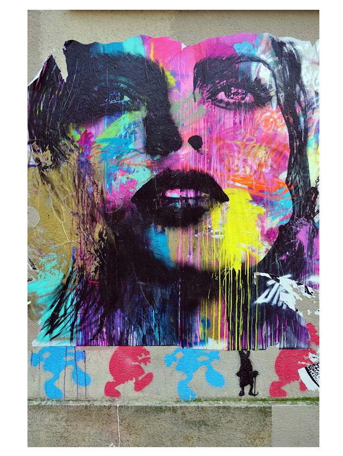 IMPRESSIONEN living Leinwandbild, Graffiti, Blau, Pink