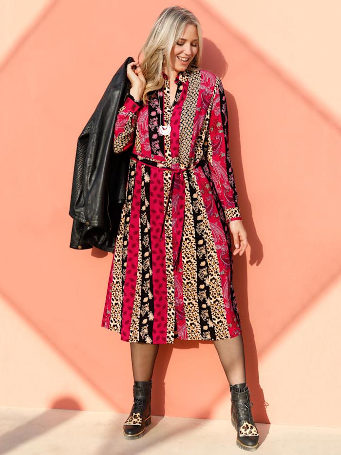 MIAMODA Hemdkleid mit Streifenpatchdruck, Rot/Schwarz/Beige