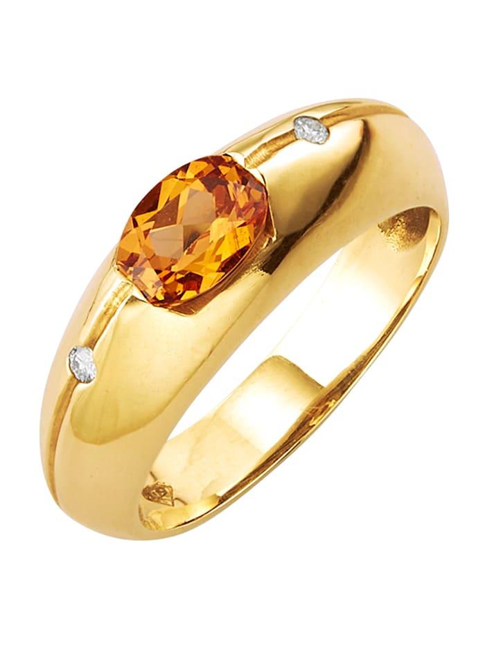 Diemer Farbstein Damenring mit Mandarin-Granat und Diamanten, Orange
