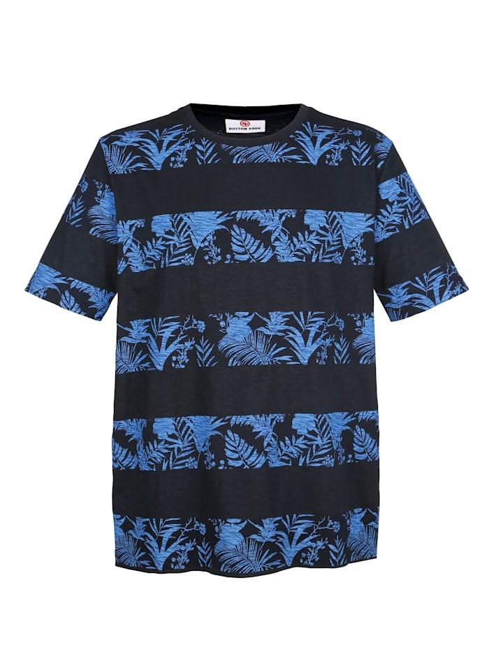 Boston Park T-shirt met gebloemd streeppatroon, Marine/Blauw