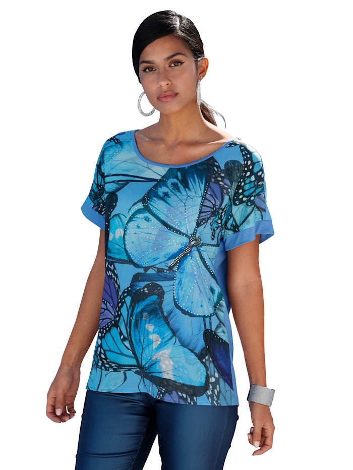 AMY VERMONT Shirt mit Schmetterlingsdruck und Steinchendeko, Hellblau/Blau