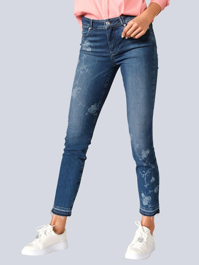 Jeans mit gelaserten Blumen auf den Vorderbeinen