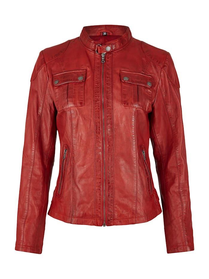 7eleven Lederjacke mit Zierriegel und -steppungen, Rot