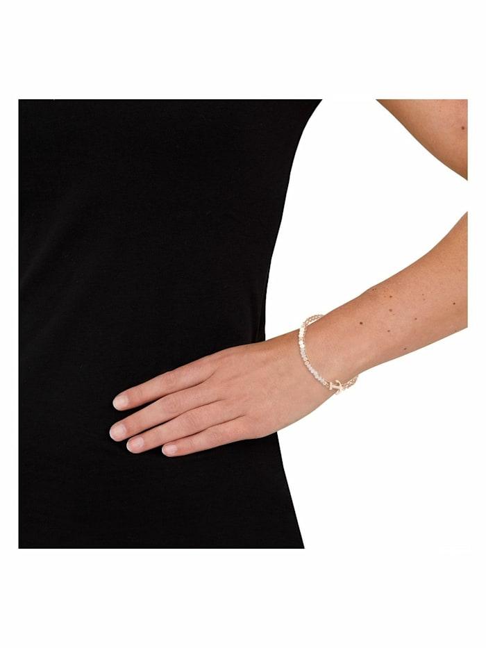 Gliederarmkette mit Anhänger für Damen, Edelstahl, Glas Anker