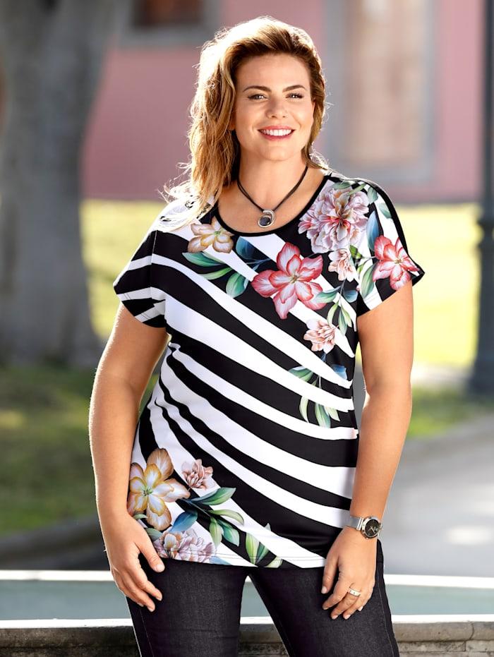 m. collection Shirt met bloemenprint, Zwart/Wit
