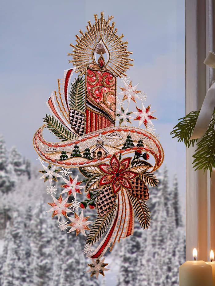 Stickereien & Textilien Okenná dekorácia Sviečka, Multicolor