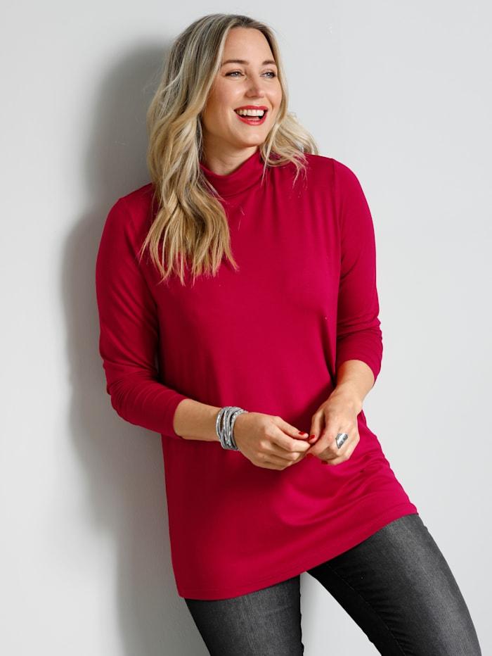 MIAMODA Shirt mit Rollkragen aus Single Jersey, Rot
